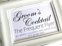 Groom's Cocktail Wedding Sign   White or Ivory by lilcubby on Etsy