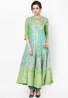 Green Embroidered Anarkali Off! Women Salwar Suit, Salwar Suits Online, Anarkali Dress, Kurti, Salwar Kameez, Indian Wear, Baby Dress, Short Sleeve Dresses, Summer Dresses