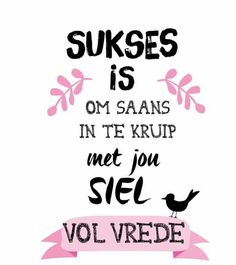 Sukses is om saans in te kruip met jou siel vol vrede The Words, Positive Quotes, Motivational Quotes, Inspirational Quotes, Funny Quotes, Words Quotes, Life Quotes, Sayings, Afrikaanse Quotes