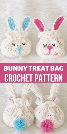 Try this crochet bunny treat bag in place of a basket this easter. The free pattern is fun to make and turns out really adorable. Bunny Crochet, Easter Crochet Patterns, Crochet Purse Patterns, Bag Crochet, All Free Crochet, Crochet Purses, Crochet Gifts, Crochet For Kids, Crochet Cape