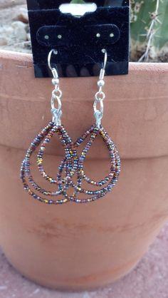 Desert sand triple strand seed beaded earrings by Natjerm on Etsy, $5.00