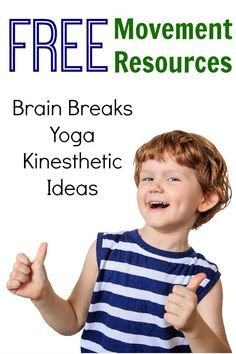 Tons of free movement based resources!  Awesome ideas for school based therapists, teachers, and parents!  Yoga, brain breaks, and kinesthetic learning ideas!