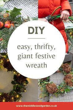 Make a big statement on a mantelpiece, porch or the outside of your house this Christmas. This super-large wreath would be expensive to buy, but is thrifty and easy to make! #christmas #middlesizedgarden #backyard #gardening Twig Wreath, Frame Wreath, Garden Party Decorations, Christmas Decorations, Easy Garden, Garden Ideas, Vintage Garden Parties, Garden Lanterns, Christmas Garden
