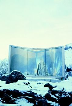 Dan Graham. Two-Way Mirror Triangle with One Curved Side. 99 x 118 in. 1996. Permanent installation, Lofoten Islands, Norway.