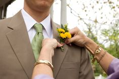 Khaki and green groomsmen are perfect for a spring inspired wedding.