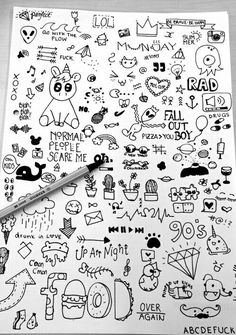 doodles random drawings doodle easy cool simple sketches pages visit mural hipster person