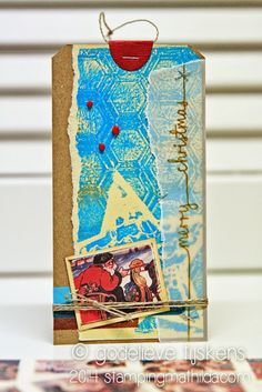 On this Christmas tag I used a gelli print from my stash. The sentiment was stamped onto vellum using StazOn ink. StampingMathilda: Zoekresultaten voor gelli