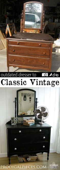 An outdated dresser just needs a little TLC and new look to get it back to the classic vintage style by Prodigal Pieces www.prodigalpieces.com #prodigalpieces #shabbychicfurnituremakeover