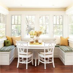 Breakfast nook with built in bench seating with higher back with windows starting above and completely upholstered.  But incased in windows on all 3 sides like this.
