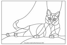 Would look amazing as stained glass (paint a window? Stained Glass Church, Stained Glass Quilt, Stained Glass Birds, Stained Glass Patterns Free, Stained Glass Designs, Cat Template, Templates, Tiffany, Cat Quilt