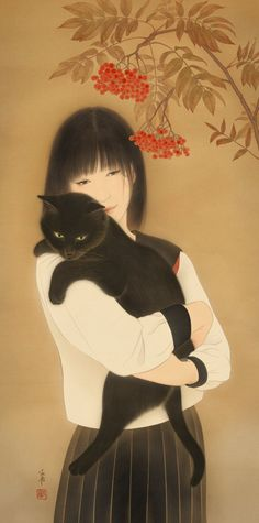 by Matsuura Shiori 松浦シオリ Autumn Cat. Black Cat Art, Black Cats, Japanese Cat, Japan Design, Cat People, Cat Drawing, Crazy Cats, Asian Art, Cats And Kittens