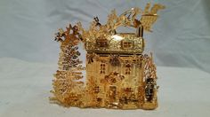 Danbury Mint 2003 Up on the Housetop 23kt Gold Plated Christmas Ornament