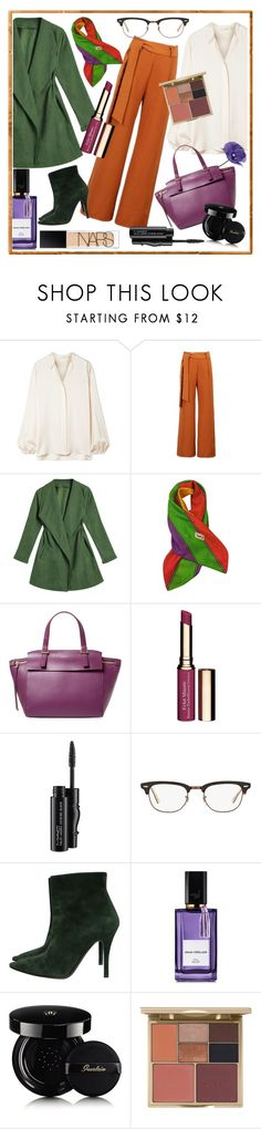 """""""winter work wear"""" by kanares ❤ liked on Polyvore featuring The Row, WithChic, Yves Saint Laurent, Furla, Clarins, MAC Cosmetics, Ray-Ban, Ralph Lauren Collection, Diana Vreeland and Guerlain"""