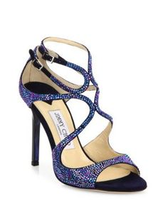 JIMMY CHOO Lang Memento Strappy Crystal & Suede Sandals. #jimmychoo #shoes #sandals