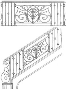Hand Built Railing   Interior Handrails   Scroll Railings