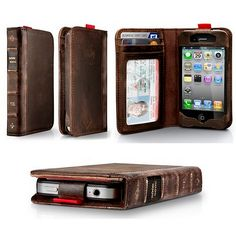 Twelve South BookBook for iPhone. It's a all-in-one handmade, genuine leather wallet and iPhone case rolled into one pocket sized, vintage book Iphone Wallet Case, Iphone Cases, Iphone 4s, Iphone Bumper, Cellphone Case, Apple Iphone, Leather Books, Living At Home, Vintage Leather