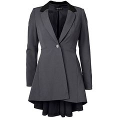 Venus Plus Size Women's Long Ruffle Back Blazer Jackets & Coats ($49) ❤ liked on Polyvore featuring plus size women's fashion, plus size clothing, plus size outerwear, plus size coats, grey, blazer jacket, grey blazer, gray coat, long gray coat and grey coat