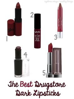 The BEST Dark Drugstore Lipsticks - eyeliner wings & pretty things