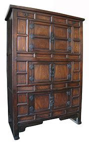 Korean Large Kitchen Cabinet / elm wood panels on front with beautiful grain, iron hardware / 19th century