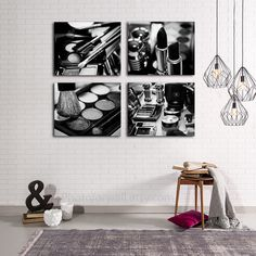 Chanel Makeup Bathroom Decor Set Of 4 Black And White Canvas Print Art