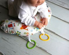 Organic Luna Tummy Time Pillow, Robots in Bright on Etsy, $24.00