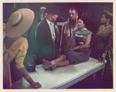 Dorothy Dandridge with Harry Belafonte, Joe Adams, and Pearl Bailey in Carmen Jones (1954).