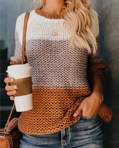 Patchwork Pullover Women Sweater Knitwear Autumn Winter Sweaters O-Neck Pullovers Casual Knitted Jumpers Mohair Sweater, Pullover Sweaters, Knit Sweaters, Winter Sweaters, Comfy Sweater, Loose Sweater, Winter Coats, Hipster Sweater
