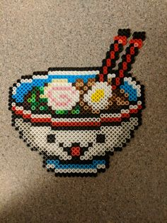 Kawaii perler bead ramen bowl