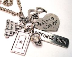 Personalized Airforce wife Half my heart is Deployed charm holder  necklace on Etsy, $19.00