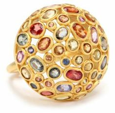 Sugar Buzz 18k Gold and Multicolored Thai Sapphire Domed Ring #unusualengagementrings