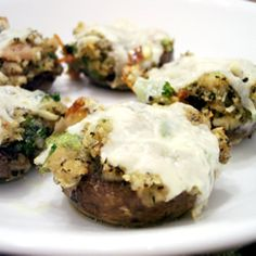 clam stuffed mushrooms.  my mother-in-law made these on christmas.  they were savory and delicious (and not too clammy)