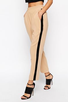 Find the best selection of ASOS Tailored Pant With Side Stripe. Shop today with free delivery and returns (Ts&Cs apply) with ASOS! Roll Neck Jumpers, Tapered Trousers, Office Attire, White Sneakers, Fashion Online, Joggers, Asos, Capri Pants, Pajama Pants