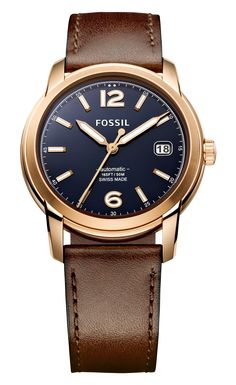Fossil Swiss Made Automatic Leather Watch - Brown