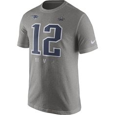 44d32704 Nike Tom Brady New England Patriots Gray Super Bowl XLIX Champions MVP T- Shirt is available now at FansEdge.