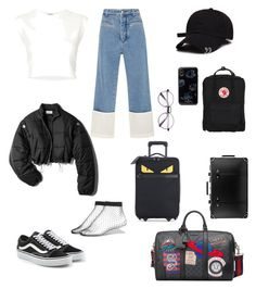 """go to airport"" by angeline-mewengkang on Polyvore featuring Loewe, 3.1 Phillip Lim, Puma, Vans, Fendi, Fjällräven, Gucci, Globe-Trotter and 7 For All Mankind"