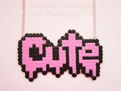 Collier Cute bijou harajuku kawaii rose hama par DoucesCreations