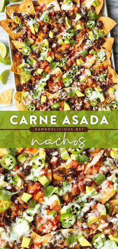 13 reviews · 40 minutes · Gluten free · Serves 8 · Hosting a game day or football party? Serve the BEST nachos ever! Everyone will have their mind blown by this easy appetizer recipe or snack idea loaded with carne asada, cheddar, pico de gallo, and…