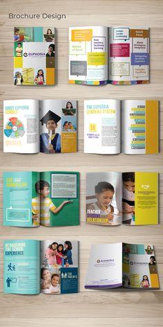 Cbse School Brochure design, Euphoria High Scho… – Design is art Brochure Indesign, Template Brochure, Design Brochure, Brochure Layout, Design Corporativo, Buch Design, Layout Design, Pamphlet Design, Booklet Design