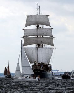 Sailing ship 'Atlantis' leaving the Baltic Sea port of Kiel-Schilksee on June 16, 2012 in Kiel, northern Germany.