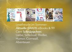 """Gratis eBooks: """"Maskentanz im Fadenkreuz""""– actionreicher Liebesthriller, """"Schräg lass nach: Ein Sauerland-Wohlfühl-Roman"""" - Humor, """" Wo bist du?: Steiners dritter Fall"""" – Kriminalthriller und als 99 Cent Schnäppchen: Cornwall – Liebesroman, spannende Fantasy; Frauenschicksal. Lesefreude im Sommer - #passtaufEuchauf Cornwall, Thriller, Humor, Ebooks, Fantasy, Book Presentation, Romance Books, Adventure, Reading"""