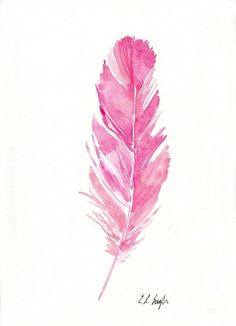 Original Watercolor Pink Feather Painting 9x12 by GrowCreativeShop