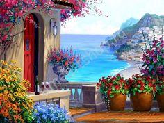 терраса у моря, художник Микки Сенкарик,картины раскраски по №, размер 40х50 см.