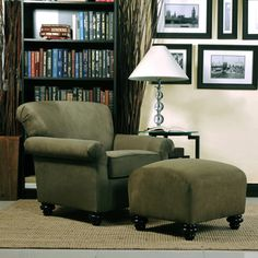Portfolio Capri Moss Green Microfiber Arm Chair and Ottoman | Overstock.com Shopping - The Best Deals on Living Room Chairs