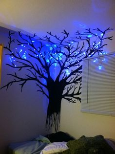 What an artistic idea for easy home mood lighting and permanent night light fixture: hand painted branchy tree on a bedroom wall + LED string lights hanging about. Very whimsical. Gives me TIm Burton vibes. Bedroom Decor, Wall Decor, Wall Art, Bedroom Rugs, Bedrooms, Bedroom Lighting, Bedroom Wall, Wall Mural, Girls Bedroom