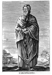 Xenophanes of Colophon (Ancient Greek: c.570 – c.475 BC) was a Greek philosopher, theologian, poet, and social and religious critic; lived a life of travel, throughout the Greek world for  67 years.