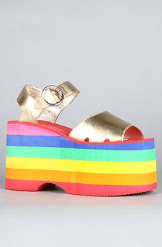 The Rainbow Brite Sandal in Gold Rainbow by Jeffrey Campbell Why don't they have these in my size! #Angry #Fashion #JeffreyCampbell @LeenieXD13