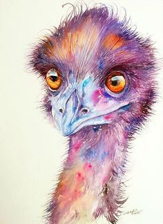 Purple Emu Art Print by Arti Chauhan. All prints are professionally printed, packaged, and shipped within 3 - 4 business days. Choose from multiple sizes and hundreds of frame and mat options. Animal Paintings, Animal Drawings, Art Drawings, Art Paintings, Pelican Art, Pelican Drawing, Art Aquarelle, Australian Animals, Colorful Animals