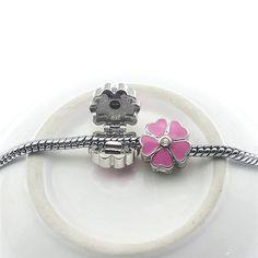 High Quality 6 Color Flower Silver Bead Charm Crystal Clip Safety Stopper Beads Fit Women Diy Pandora Bracelets & Bangles K1-35