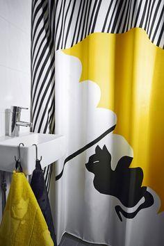 Huvila collection – Polkka Jam for House Yellow Bathrooms, Bathroom Essentials, Laundry In Bathroom, Nordic Design, Scandinavian Home, Bathroom Inspiration, Home And Living, Flooring, Curtains