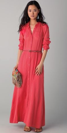 CORAL MAXI DRESS: belt and flats, great alternative to Friday jeans